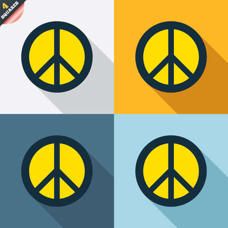 antiwar: Peace sign icon. Hope symbol. Antiwar sign. Four squares. Colored Flat design buttons. Vector