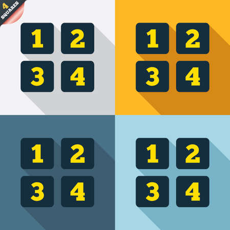 wrapped corner: Cellphone keyboard sign icon. Digits symbol. Four squares. Colored Flat design buttons. Vector