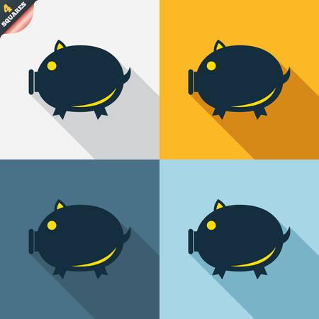wrapped corner: Piggy sign icon. Pork symbol. Four squares. Colored Flat design buttons. Vector