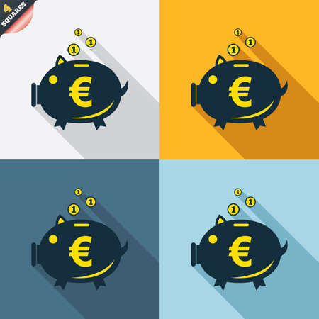 Piggy bank sign icon. Moneybox euro symbol. Four squares. Colored Flat design buttons. Vector