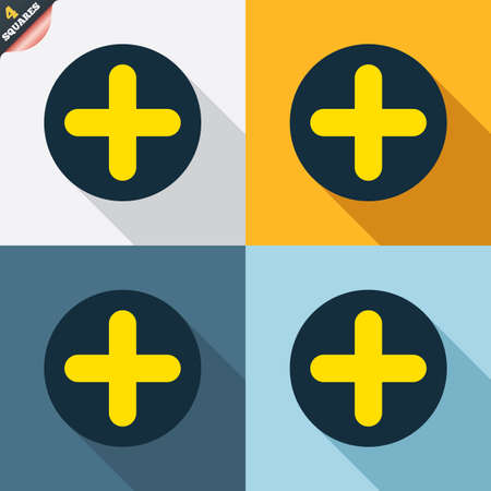 wrapped corner: Plus sign icon. Positive symbol. Zoom in. Four squares. Colored Flat design buttons. Vector