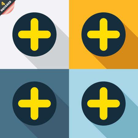 zoom in: Signo m�s icono. S�mbolo positivo. Acercar la imagen. Cuatro cuadrados. Botones coloreados dise�o plano. Vector