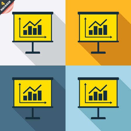 wrapped corner: Presentation billboard sign icon. Scheme and Diagram symbol. Four squares. Colored Flat design buttons. Vector