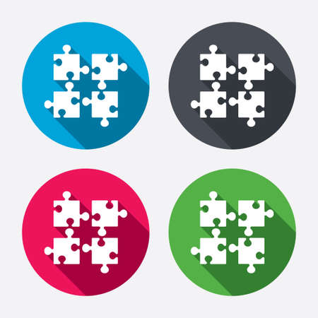 ingenuity: Puzzles pieces sign icon. Strategy symbol. Ingenuity test game. Circle buttons with long shadow. 4 icons set. Vector