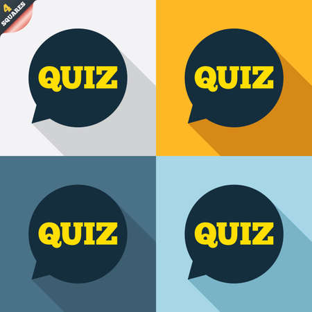 wrapped corner: Quiz speech bubble sign icon. Questions and answers game symbol. Four squares. Colored Flat design buttons. Vector Illustration