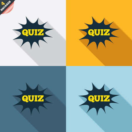 wrapped corner: Quiz boom speech bubble sign icon. Questions and answers game symbol. Four squares. Colored Flat design buttons. Vector