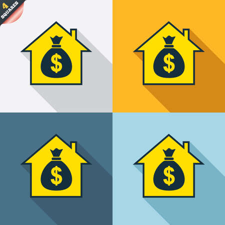 Mortgage sign icon. Real estate symbol. Bank loans. Four squares. Colored Flat design buttons. Vector