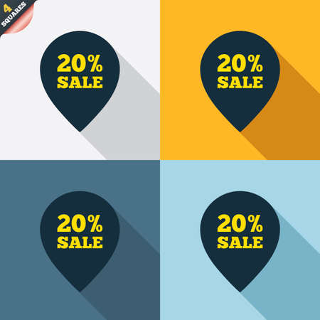 wrapped corner: 20% sale pointer tag sign icon. Discount symbol. Special offer label. Four squares. Colored Flat design buttons. Vector