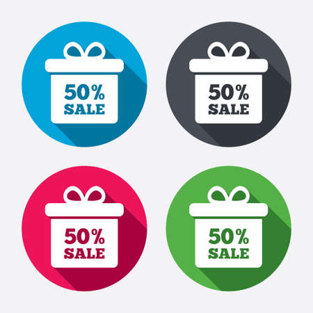 50% sale gift box tag sign icon. Discount symbol. Special offer label. Circle buttons with long shadow. 4 icons set. Vector Vector