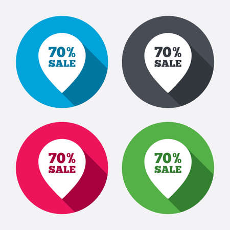 70% sale pointer tag sign icon. Discount symbol. Special offer label. Circle buttons with long shadow. 4 icons set. Vector Vector