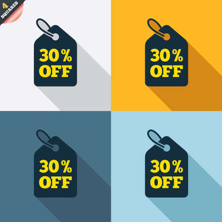 wrapped corner: 30% sale price tag sign icon. Discount symbol. Special offer label. Four squares. Colored Flat design buttons. Vector
