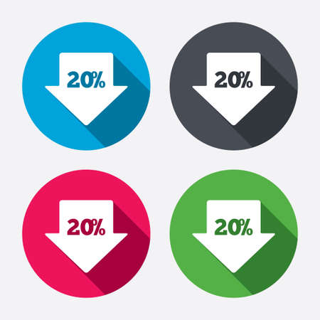 20% sale arrow tag sign icon. Discount symbol. Special offer label. Circle buttons with long shadow. 4 icons set. Vector Vector