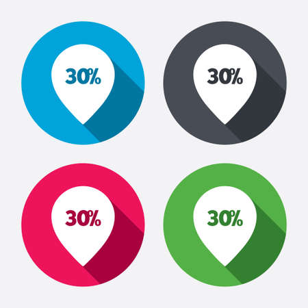 30% sale pointer tag sign icon. Discount symbol. Special offer label. Circle buttons with long shadow. 4 icons set. Vector Vector