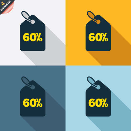 wrapped corner: 60% sale price tag sign icon. Discount symbol. Special offer label. Four squares. Colored Flat design buttons. Vector