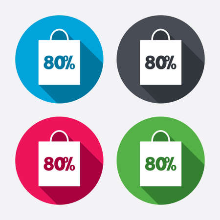 80% sale bag tag sign icon. Discount symbol. Special offer label. Circle buttons with long shadow. 4 icons set. Vector Vector
