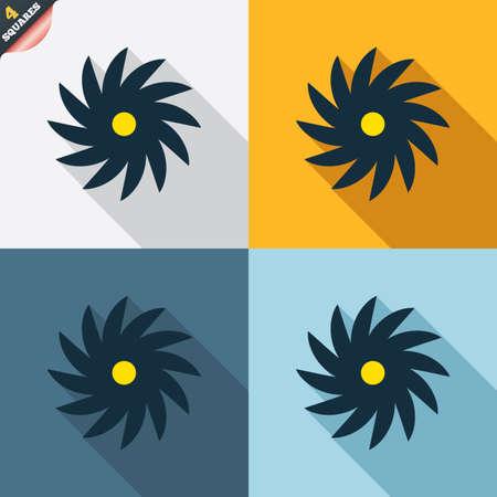 cutting blade: Sierra circular icono de la muestra de la rueda. Cortar s�mbolo de la cuchilla. Cuatro cuadrados. Botones coloreados dise�o plano. Vector