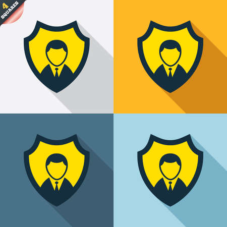 wrapped corner: Security agency sign icon. Shield protection symbol. Four squares. Colored Flat design buttons. Vector Illustration