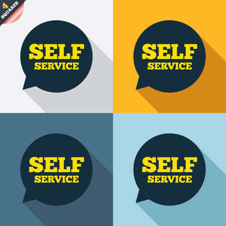 maintenance symbol: Self service sign icon. Maintenance symbol in speech bubble. Four squares. Colored Flat design buttons. Vector