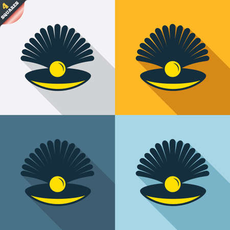 conch shell: Sea shell with pearl sign icon. Conch symbol. Travel icon. Four squares. Colored Flat design buttons. Vector