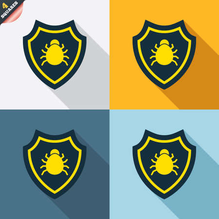 wrapped corner: Shield sign icon. Virus protection symbol. Bug symbol. Four squares. Colored Flat design buttons. Vector Illustration