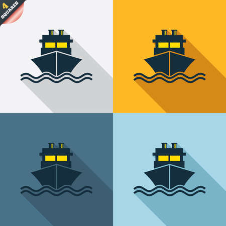 wrapped corner: Ship or boat sign icon. Shipping delivery symbol. With chimneys or pipes. Four squares. Colored Flat design buttons. Vector