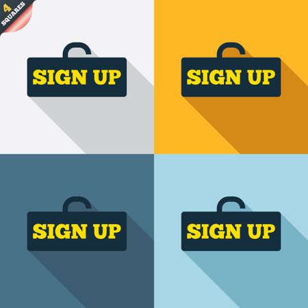 lock up: Sign up sign icon. Registration symbol. Lock icon. Four squares. Colored Flat design buttons. Vector