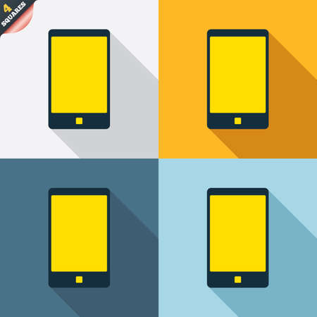 wrapped corner: Smartphone sign icon. Support symbol. Call center. Four squares. Colored Flat design buttons. Vector Illustration