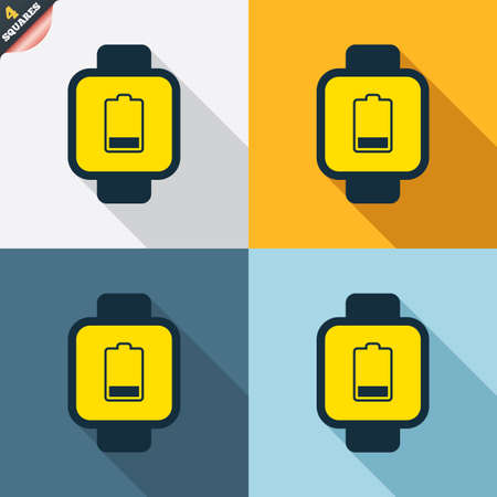 low battery: Smart watch sign icon. Wrist digital watch. Low battery energy symbol. Four squares. Colored Flat design buttons. Vector Illustration
