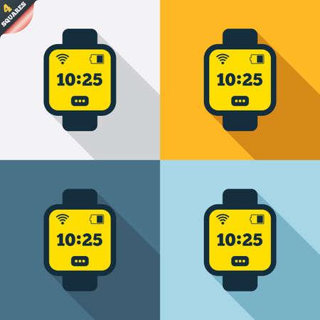 Smart Watch Sign Icon Wrist Digital Watch Wi Fi And Battery