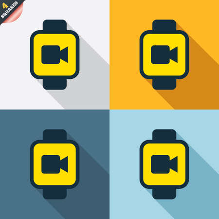 watch video: Smart watch sign icon. Wrist digital watch. Video camera symbol. Four squares. Colored Flat design buttons. Vector Illustration
