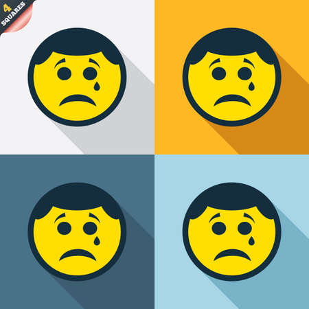 Sad face with tear sign icon. Crying chat symbol. Four squares. Colored Flat design buttons. Vector