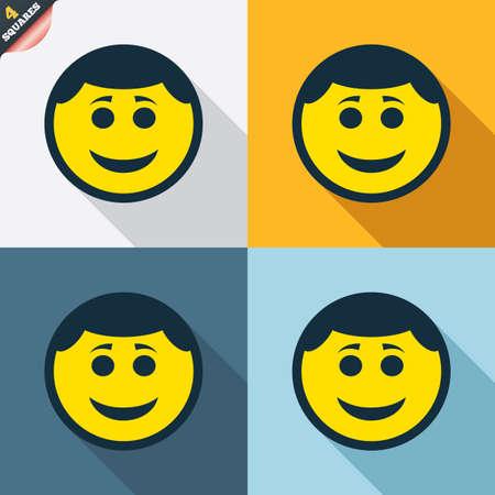 Glimlach gezicht teken icoon. Gelukkig smiley met kapsel chat-symbool. Vier pleinen. Gekleurde platte ontwerp knoppen. Vector Vector Illustratie