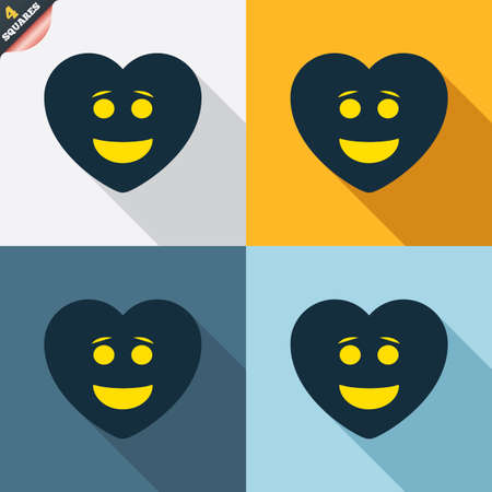four eyes: Smile heart face sign icon. Happy smiley with hairstyle chat symbol. Four squares. Colored Flat design buttons. Vector Illustration