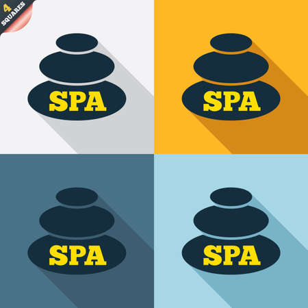 spa stones: Spa sign icon. Spa stones symbol. Four squares. Colored Flat design buttons. Vector