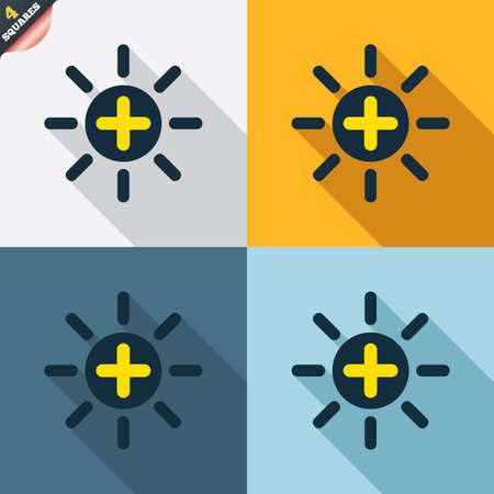 wrapped corner: Sun plus sign icon. Heat symbol. Brightness button. Four squares. Colored Flat design buttons. Vector
