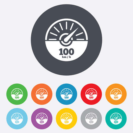 km: Tachometer sign icon. 100 km per hour revolution-counter symbol. Car speedometer performance. Round colourful 11 buttons. Vector Illustration