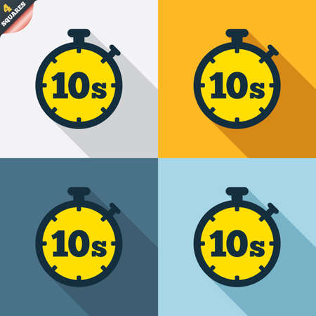 seconds: Timer 10 seconds sign icon. Stopwatch symbol. Four squares. Colored Flat design buttons. Vector