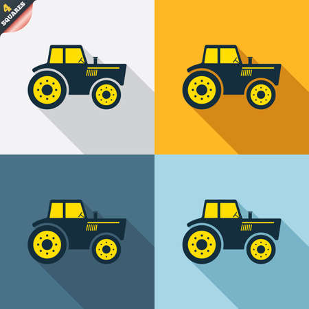 agricultural industry: Tractor sign icon. Agricultural industry symbol. Four squares. Colored Flat design buttons. Vector