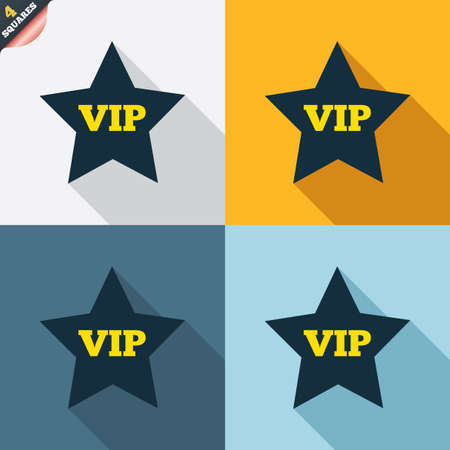 very important person: Vip sign icon. Membership symbol. Very important person. Four squares. Colored Flat design buttons. Vector