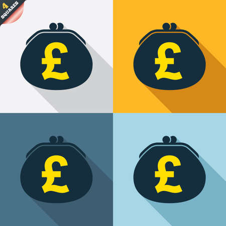 pound sign: Wallet pound sign icon. Cash bag symbol. Four squares. Colored Flat design buttons. Vector