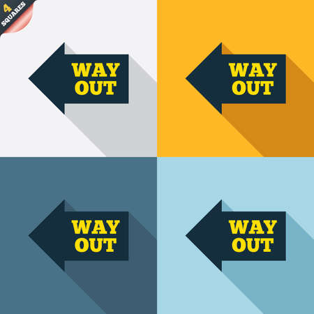 escape route: Way out left sign icon. Arrow symbol. Four squares. Colored Flat design buttons. Vector