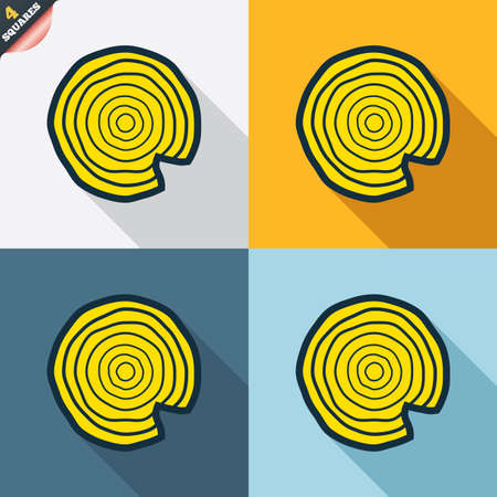 nick: Wood sign icon. Tree growth rings. Tree trunk cross-section with nick. Four squares. Colored Flat design buttons. Vector Illustration