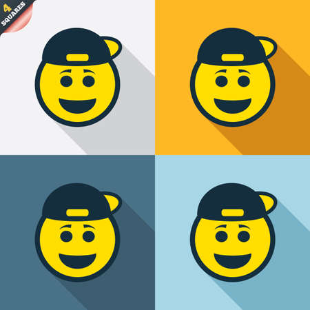 rapper: Smile rapper face sign icon. Happy smiley with hairstyle chat symbol. Four squares. Colored Flat design buttons. Vector Illustration