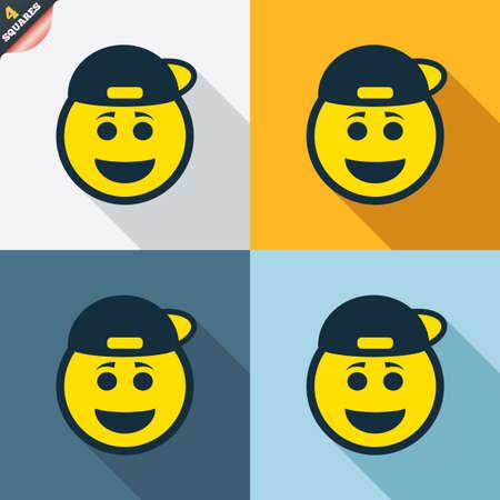 rapero: Sonrisa rapero signo icono de la cara. Smiley feliz con el s�mbolo de peinado de chat. Cuatro cuadrados. Botones coloreados dise�o plano. Vector