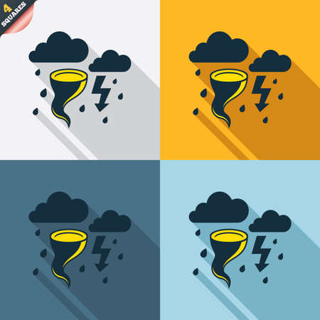 hurricane weather: Storm bad weather sign icon. Clouds with thunderstorm. Gale hurricane symbol. Destruction and disaster from wind. Insurance symbol. Four squares. Colored Flat design buttons. Vector Illustration