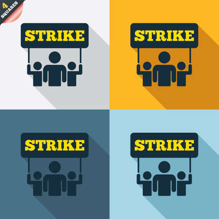 activists: Strike sign icon. Group of people symbol. Industrial action. People holding protest banner. Four squares. Colored Flat design buttons. Vector Illustration