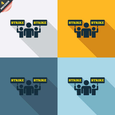 Strike sign icon. Group of people symbol. Industrial action. People holding protest banner. Four squares. Colored Flat design buttons. Vector Vector