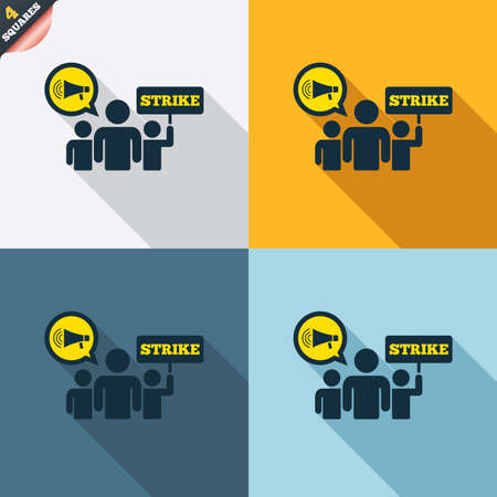 protest design: Strike sign icon. Group of people symbol. Industrial action. Holding protest banner and megaphone. Four squares. Colored Flat design buttons. Vector