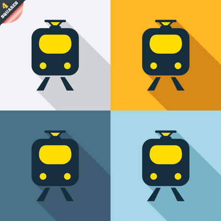 underground: Subway sign icon. Train, underground symbol. Four squares. Colored Flat design buttons. Vector