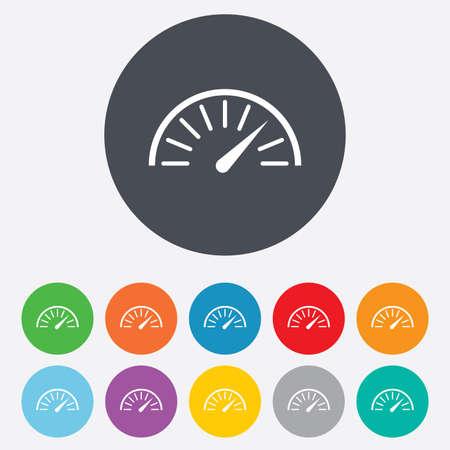 tacometro: Icono de se�al del tac�metro. S�mbolo Revoluci�n de venta libre. Rendimiento veloc�metro del coche. Ronda de colores 11 botones. Vector